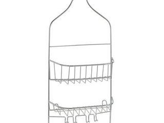 Bath Bliss contoured head design shower organizer caddy in chrome  9  x 4 3  x 21 5