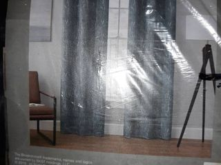 Brookstone 84  Total Blackout Velvet Sprigs Grommet Curtain Panel   Grey