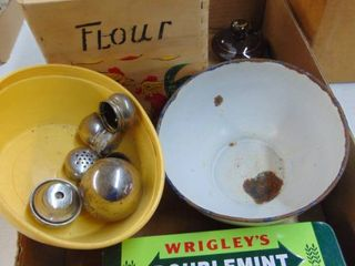 Wooden Boxes  Enamelware Bowl and More