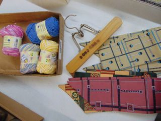 Wooden Hanger  Ties and Yarn