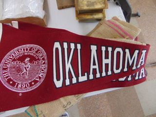 Oklahoma Pennant and Coffee Burlap Bag