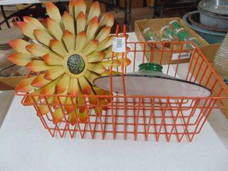 Metal Orange Basket  Metal Flower and More