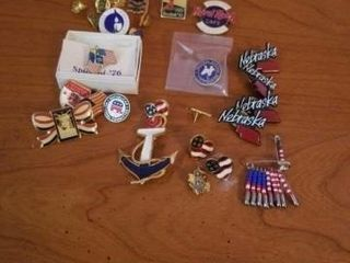 NUMEROUS NEBRASKA  PATRIOTIC  MISCEllANOUS PINS