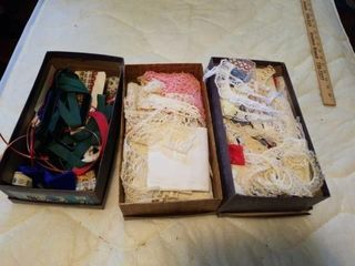 3 BOXES OF VARIOUS lACE