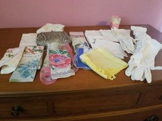 VARIETY OF HANKIES  GlOVES  AND AN EVENING PURSE
