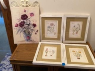 4 MATCHING FlOWER PRINTS AND ONE ON CANVAS