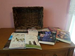 NICE BASKET AND MISCEllANOUS BOOKS