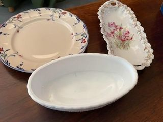 GERMAN FlOWER BOAT DISH   PlATE AND CASSEROlE