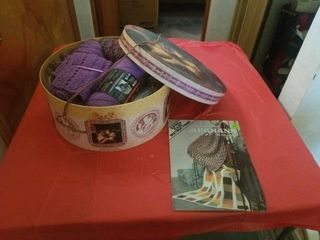 PRETTY HAT BOX WITH YARN AND A BOOK ON AFGHANS