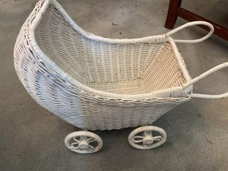 WICKER BABY  DOll CARRIAGE