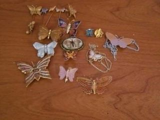 BUTTERFlY PINS AND NECKlACES