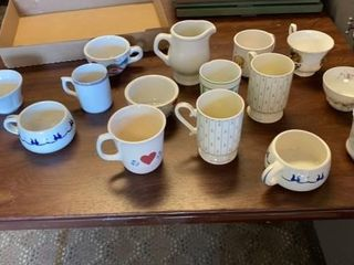 VARITY OF COFFEE CUPS   SOME CHINA AND BlUE BOWl
