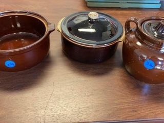 3 BEAN POTS  ONE WITHOUT lID