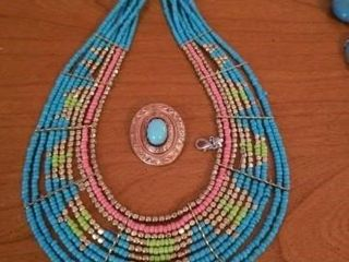 TURQUOISE NECKlACE AND A PIN