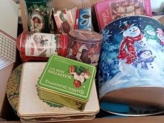 lARGE BOX OF MISC CHRISTMAS TINS OVER 20