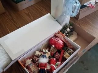 SMAll BOX OF CHRISTMAS ORNAMENTS AND OTHER