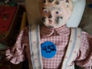 VINTAGE DOll WITH A TIN HEAD AND PORCElAIN HANDS