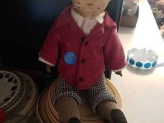 VINTAGE BOY DOll WITH A TIN HEAD   MOVEABlE EYES