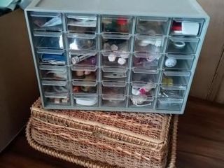 ORGANIZER BOX AND WICKER BASKET OF SEWING AND
