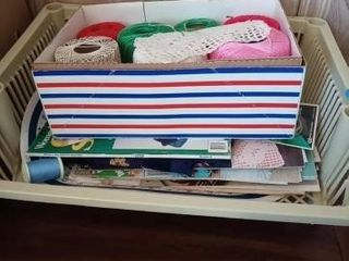 BOX OF SEWING STRINGS AND MAGAZINES