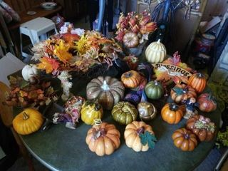 VARIETY OF FAll DECORATIONS   WREATH  PUMPKINS