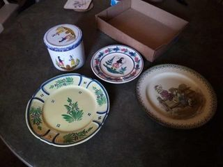 PlATES FROM FRANCE AND ENGlAND  AND A TIN