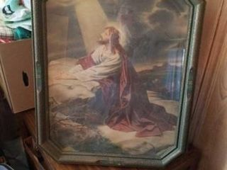 VINTAGE 22  X 18  PICTURE OF JESUS PRAYING