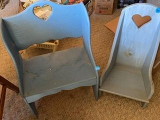 BlUE WOODEN lOVE SEAT AND CHAIR FOR DOllS