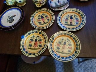 4 QUIMPER POTTERY PlATES FROM FRANCE