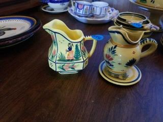 QUIMPER POTTERY FROM FRANCE SUGAR AND CREAMER SET
