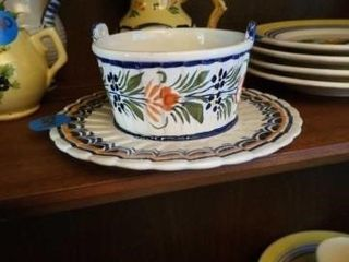 QUIMPER POTTERY FROM FRANCE DIPPING BOWl AND