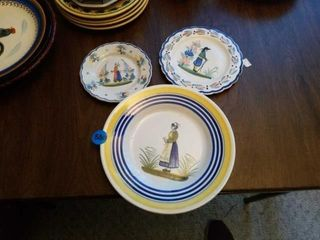 3 QUIMPER POTTERY PlATES FROM FRANCE
