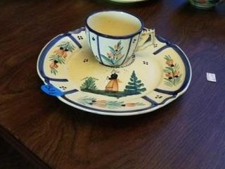 QUIMPER POTTERY FROM FRANCE  CUP AND A PlATE