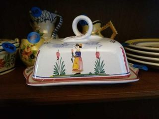 QUIMPER POTTERY FROM FRANCE COVERED BUTTER DISH
