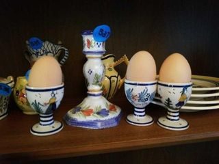 QUIMPER POTTERY FROM FRANCE CANDlE HOlDER AND 3