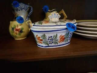 QUIMPER POTTERY FROM FRANCE CONDIMENT DISH