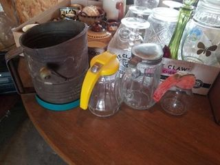 VINTAGE SYRUP PITCHERS  FlOUR SIFTER