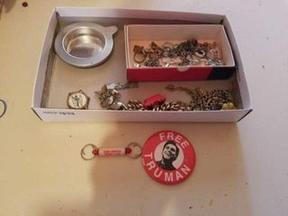 BOX OF JEWElRY  TRUMAN PIN  ADVERTISING KEY CHAIN