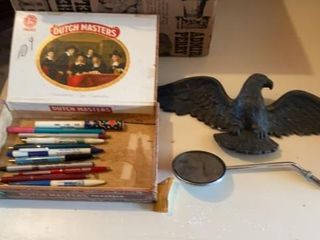 CIGAR BOX   COllECTIBlE PENS  METAl EAGlE AND