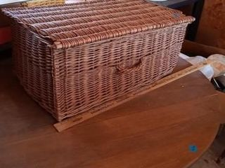 lARGE BROWN WICKER BASKET OF MISC SEWING ITEMS 25