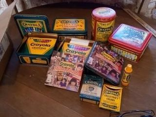 BOX OF CRAYOlA CRAYONS IN TINS