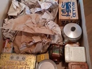 SEVERAl TEA TINS AND CONTAINERS AND SOME TEA