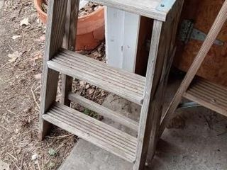 STEP lADDER AND 4 FOOT lADDER  BOTH WOODEN