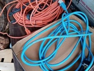 TWO OUTDOOR EXTENSION CORDS