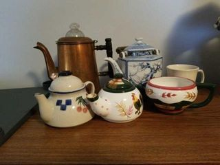 NUMEROUS TEA POTS  MISCEllANOUS ITEMS