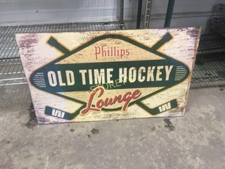 Wood Sign   Old Time Hockey   30 x 18
