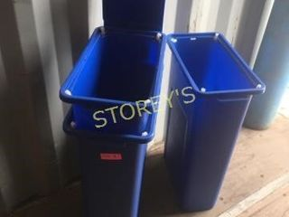 3 Blue Recycle Pails