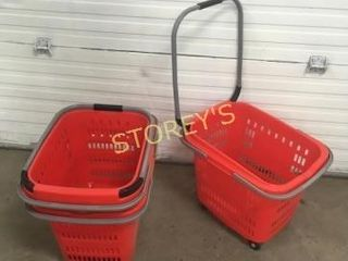 4 Red Shopping Baskets on Wheels