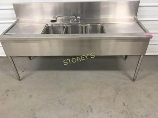3 Well S S 6  Cocktail Sink w  Ice Chest
