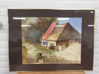 Framed Straw House Picture